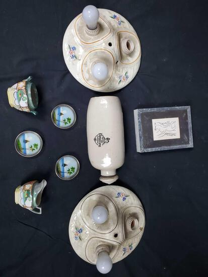 Porcelain light mounts. Royal Doulton London jug. Henri Matisse art singed. Misc porcelain decor.