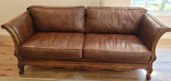 Beautiful Bernhardt Wood and Leather couch