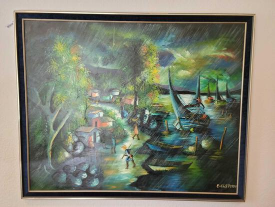 Beautiful Large Oil Painting Villagers by E. Chistorai