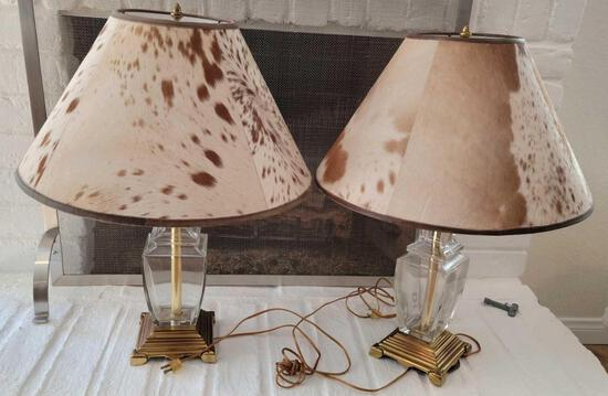 Set of Crystal Lamps w Cowhide lampshades