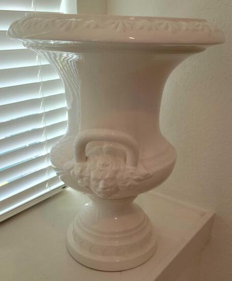 White Ceramic Urn Planter w stand
