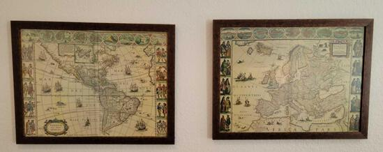 Set of Beautiful Framed Map pictures of the Terra Australis And Afica Pars