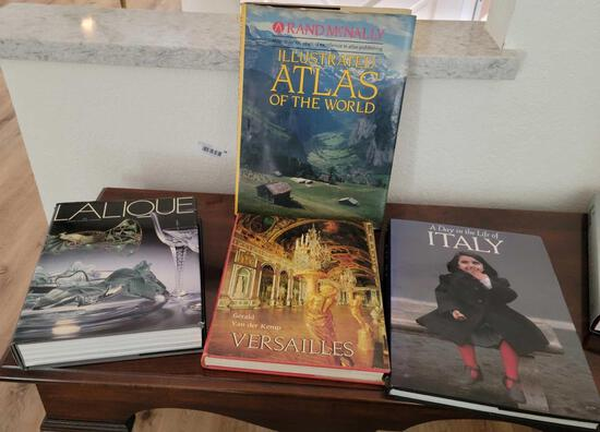Coffee Table books Lalique Versasilles Italy and Atlas