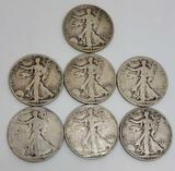 Walking liberty silver half dollar, 90% silver lot 7 coins