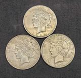 Lot of 3 Silver Peace Dollars 1923, 1925, 1927, 3 coins