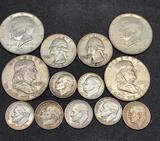 Silver Coin lot Kennedy, Benjamin Franklin half's, Quarters and dimes 13 coins