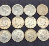 Lot of 12 coins 1967 Kennedy silver half dollars