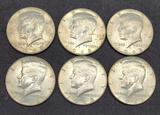 1963 Kennedy silver halfs lot 6 coins