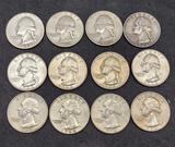 12 Silver Washington Quarters 12 coins