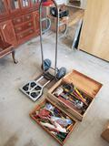 Wooden toolbox with hand tools. Electric drill. Hand dolly and lightweight compact carrying cart.