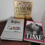Coffee table books The Beatles Anthology Time peanuts A Golden Celebration