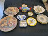 Italian Stoneware pieces Arte Ditalia Meridian Decrative plates ashtrays dishes
