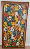 Large Africana Framed Artwork on Canvas by Wilner