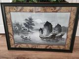 Beautiful Japanese Black and White painted Framed Artwork Signed Aberle