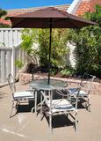 Patio set Table w 6 chaird Umbrella and side table