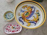 Deruta mafe in Italy Pedestal serving dish tray and bowl from Italy