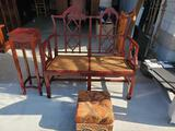 Oriental bench. Vase stand and ottoman