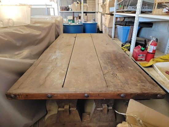 Huge Antique Heavy Carved Wooden Table