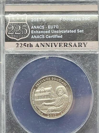 ANACS 2017-S Enhanced Uncirculated 70 Frederick Douglas Quarter 225th Anniversary of the US Mint Hol