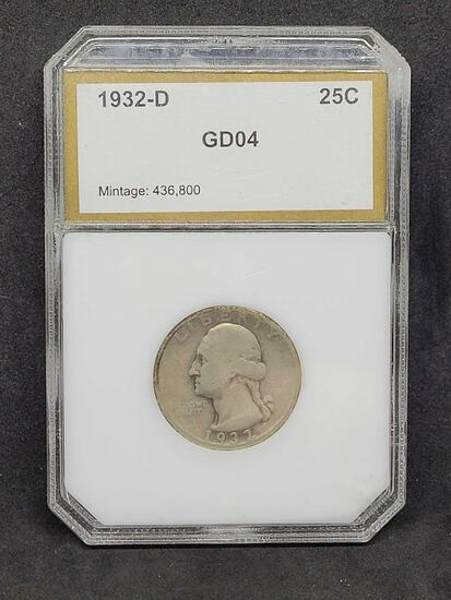 Rare Key Date 1932-D Washington Quarter Graded by PCI as Good 4 Mintage of only 436,800