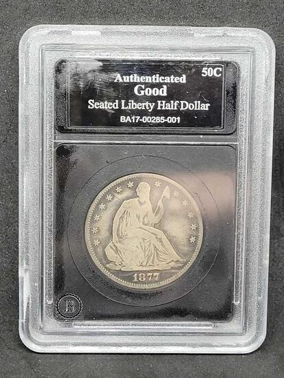 1877 Seated Liberty Half Dollar Slabbed Very Good