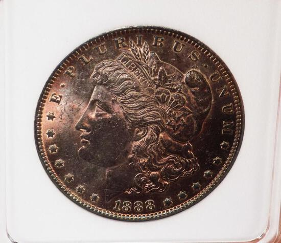 Morgan Silver Dollar 1888 O Monster NEON Purple Rainbow Gem BU Rare Original PQ