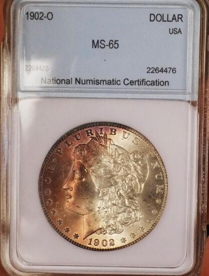 Morgan Silver Dollar 1902 O Gem BU Monster Rainbow Neon Half Moon Ms++ wow coin