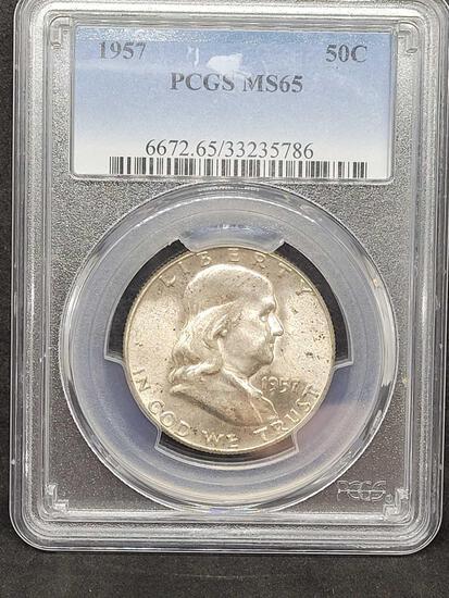 PCGS 1957 MS65 Franklin Half Mint Set Toning