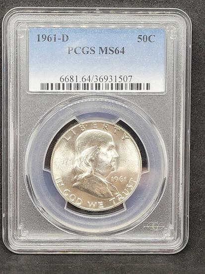 PCGS 1961-D MS64 Franklin Half So Close to Full Bell Lines