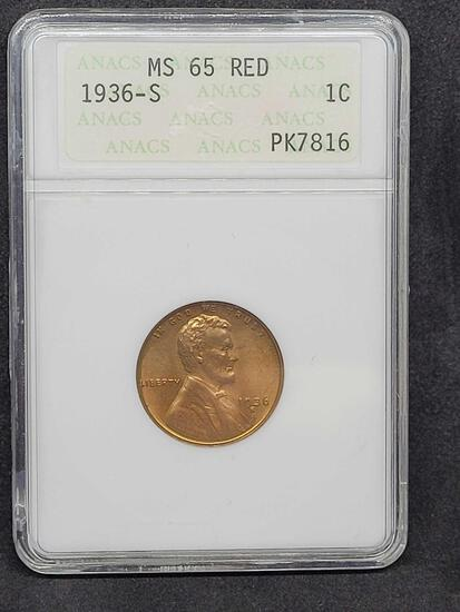 1936-S ANACS MS65 Red Lincoln Wheat Cent Very Early Second-Generation Holder PK7816