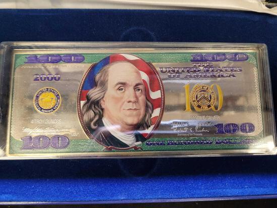 4 Troy Oz .999 Fine Silver Rare Colorized $100 Bill Ben Franklin Bar 2000 Washington Mint