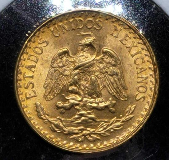 Gold Mexico 1945 2 Peso Gem Brilliant Uncirculated