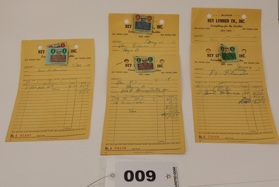 Ney Lumber Receipts 1958-1959