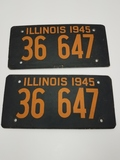 Set Of 2 1945 Illinois License Plates