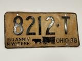 1938 Ohio License Plate