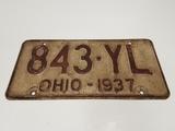 1937 Ohio License Plate