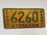 1934 Trailer Pennsylvania License Plate