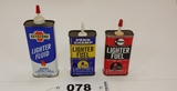 Lighter Fluid Fuel Cans Lot Of 3