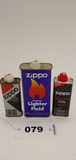 Zippo Lighter Fluid Fuel Cans Lot Of 3