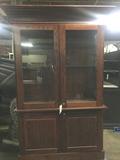 Wooden Hutch w/ Glass Doors