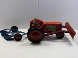 Vintage Metal Toy Tractor and 3-Bottom Plow