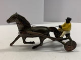 Brass Harness Racing Horse w/ Sulky & Driver