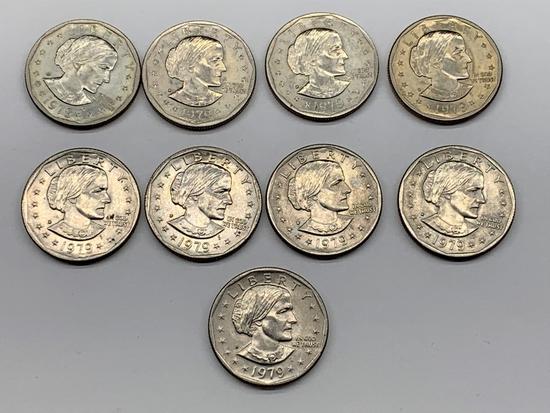 (8) 1979 D & (1) 1979 S Susan B Anthony Dollar
