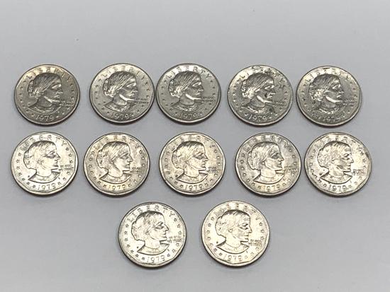 (12) 1979 P Susan B Anthony Dollar Coins
