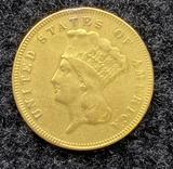 1878 $3 Indian Princess Gold Coin