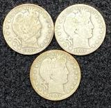 (3) Barber Half Dollars - 1902 & 1902O