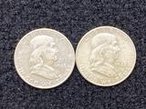 (2) 1948 D Ben Franklin Half Dollars