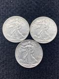 (3) 1942 S Walking Liberty Half Dollars