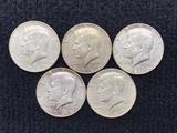 (5) 1966 Kennedy Half Dollars
