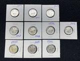 (10) Mercury Dimes
